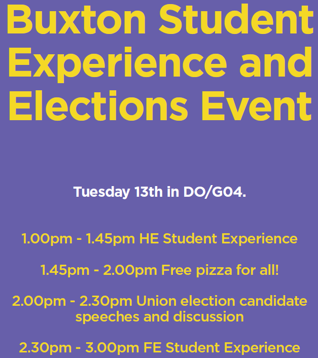 Buxton Student Experience & Elections Event