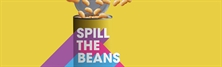 A multi coloured can of baked beans on a bright yellow background with words 'SPILL THE BEANS'