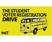 Yellow background with yellow Volkswagen camper van and text THE STUDENT VOTER REGISTRATION DRIVE in