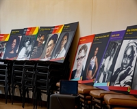 A collection of promotional boards depicting LGBTQ and Black History allies and role models
