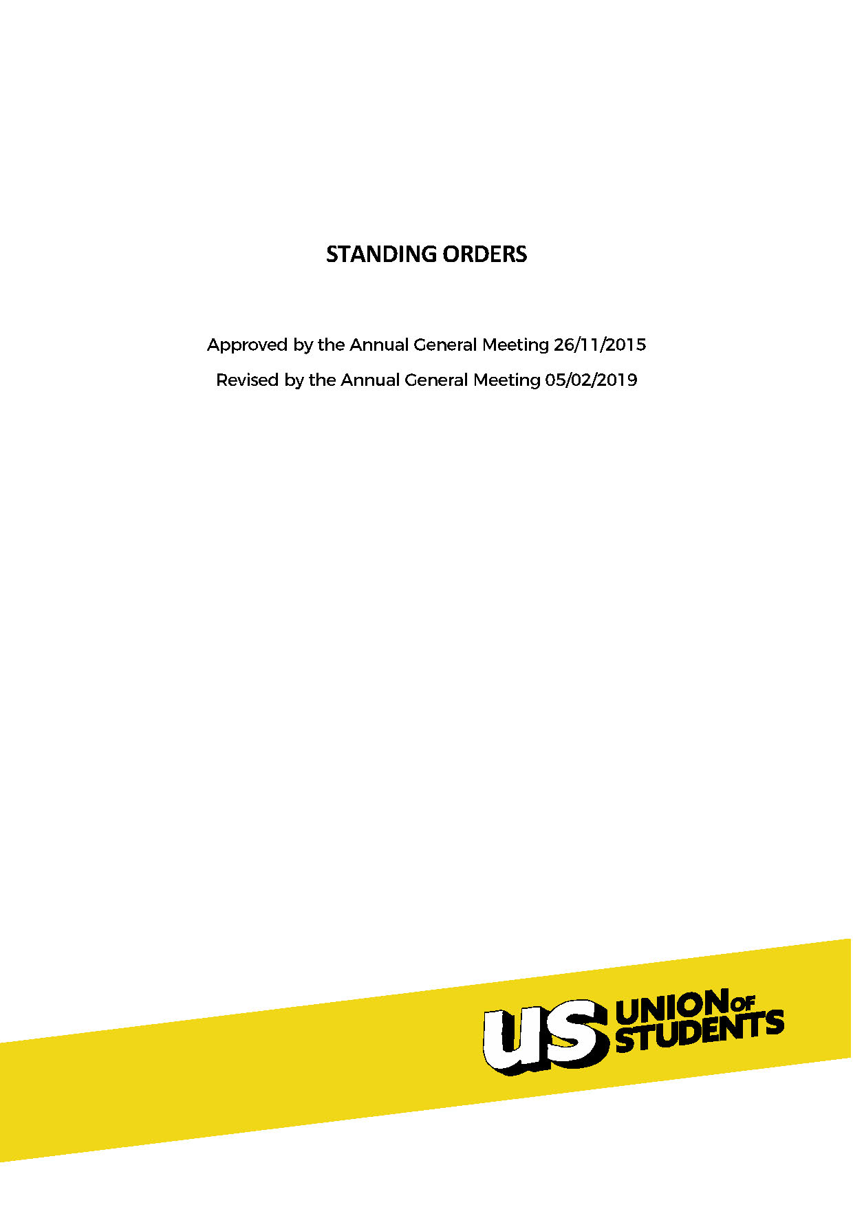 Union Standing Orders Cover Image